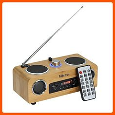 "Koolertron Eco-friendly Hand-made Light Weight Mini Portable Bamboo Wood Boombox Card Speaker with Radio Function +Remote Control + Usb Cable (7.9""*4.6""*4.1inch) - Audio gadgets (*Amazon Partner-Link)"