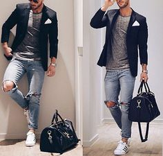 gym after work // gym bag // fitness // mens fashion // denim //