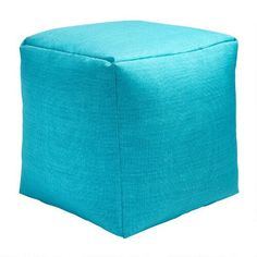 One of my favorite discoveries at ChristmasTreeShops.com: Solid Turquoise Indoor/Outdoor Square Ottoman
