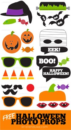 Halloween Photo Booth Free Printable Props - Fun idea for a Halloween Party.