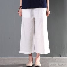 678a976ce35 White plus size linen trousers women summer pants wide leg crop pants