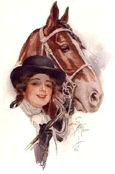Vintage Harrison Fisher Riding Lady Horse Equestrian print (Harrison Fisher Vintage Art Prints illustration Ads) at Victorian Grace Art-Antiques-Collectible Jewelry Vintage Horse, Vintage Girls, Vintage Cowgirl, Vintage Pictures, Vintage Images, Vintage Prints, Vintage Art, Fisher, Art Antique
