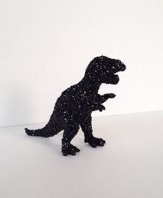 T-Rex goes Hollywood glam with jet black sparkle glitter toy dinosaur geekery photo prop movie buff dorm decor dinosaur girl party #handmade #etsyretwt