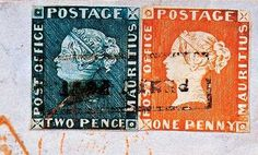 100+Most+Valuable+Postage+Stamps | ... envelope is franked with the 1d and 2d ?Post Office? Mauritius stamps