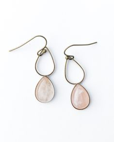 My newest design features a tiny teardrop hanging below a teardrop loop... It remains delicate but the extra length in design adds some jaw dropping drama to the drop.  The teardrop is 14mm x 1... Small Rose, Feminine Energy, Rose Quartz, Drama, Delicate, Jewellery, Drop Earrings, Crystals, Design