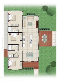 Erbacher 301 Kit Home Floor Plan and Blueprints - 3 Bed, 2 Bath. Open Living Area, Open Plan Living, Home Design Floor Plans, House Floor Plans, Cladding Materials, Roofing Options, Roof Colors, Design Strategy, Steel Buildings