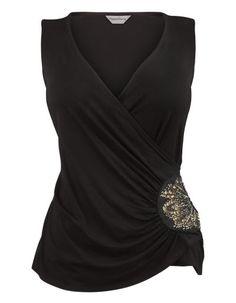 Side Embellished Jersey Top