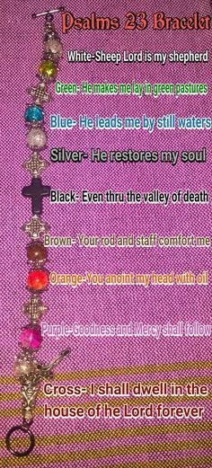 Psalms 23 Bracelet Prayer Crafts, Bible Crafts, Bead Crafts, Jewelry Crafts, Jewelry Ideas, Seed Bead Jewelry, Beaded Jewelry, Handmade Jewelry, Group Projects