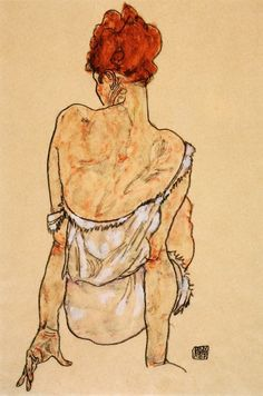 Egon Schiele, Modella seduta - Seated Model - (1917)
