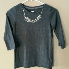 Cute necklace top! GIRLS size 10/12 OLD NAVY Stylish Dark gray 3/4 sleeves top... with jewel necklace embellishments! Worn once..in excellent condition! Too small :( GIRLS size 10/12 Old Navy Tops