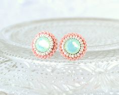 Mint peach coral ivory stud earrings