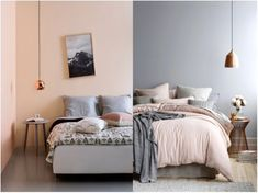 Lámpara cobre + rosa y gris. Ideas decoración #dormitorios