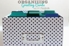How to organize your greeting cards- the DIY Playbook Greeting Card Organizer, Greeting Card Storage, Greeting Card Box, Scrapbook Organization, Budget Organization, Scrapbook Supplies, Organization Ideas, Storage Ideas, Diy Stationery Organizer