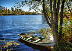 Boat at the lake in Akershus County, southern Norway.