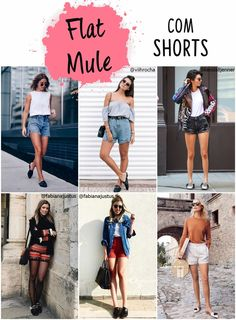 Flat mule com shorts