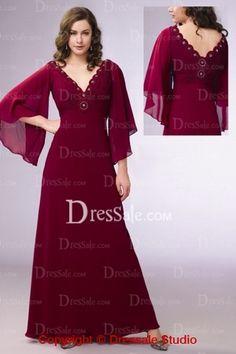 Empire Burgundy Chiffon Poet Sleeves Romance Gown