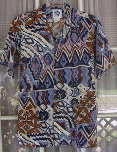 4dad39a0 Hilo Hattie Men Med Multi Color Abstract Print Cotton Blend Hawaiian Aloha  Shirt Flatware Set,