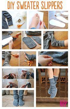 chaussons récup avec un pull