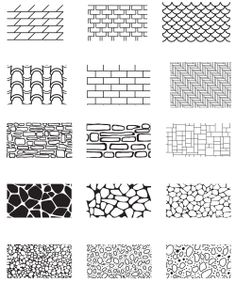 Collection of the building wall texture Stone cladding, brick,. Architecture Drawing Sketchbooks, Architecture Concept Drawings, Landscape Architecture Drawing, Landscape Sketch, Landscape Drawings, Architectural Drawings, Texture Sketch, Texture Drawing, Texture Architecture