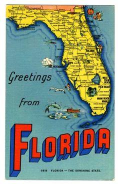 vintage state map postcards   State of Florida Map Vintage 1944 Linen Postcard - Stone Hill Creek