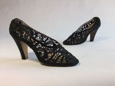 Vintage 1930s Ferragamo Shoes // Incredible Rare Lace and Satin Dance Slippers by FabGabs, $600.00