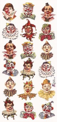 Self Adhesive Clown Circus Faces Stickers 1 Sheet Colorful Scrapbooking Stickers Number 109 Le Clown, Clown Faces, Creepy Clown, Circus Art, Circus Clown, Circus Theme, Mime, Clown Paintings, Pierrot Clown