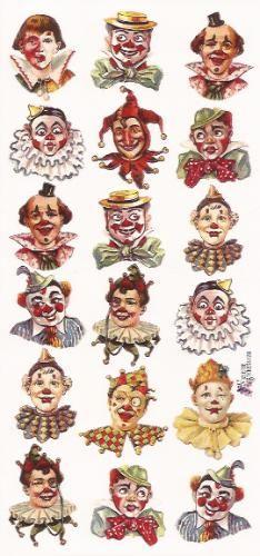 Circus - Clownskopjes poezieplaatjes Stickers P32