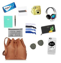 Everyday purse essentials by yasmeenf on Polyvore featuring polyvore, fashion, style, Sophie Hulme, Kate Spade, Abercrombie & Fitch, Glam Bands, Casetify and Ray-Ban