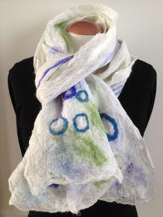 White hand felted alpaca wool scarf by Royalpaca on Etsy