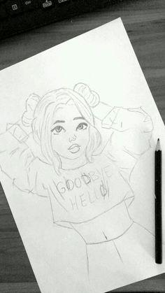 Tattoo girl drawing dibujo 40 New Ideas Tumblr Drawings, Cool Art Drawings, Pencil Art Drawings, Disney Drawings, Easy Drawings, Cute Drawings Of Girls, Girl Drawing Sketches, Drawing Ideas, Tumblr Girl Drawing