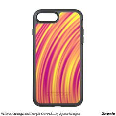 Shop Yellow, Orange and Purple Curved Ripples Pattern OtterBox iPhone Case created by AponxDesigns. Orange And Purple, Yellow, Iphone Case Covers, Cover Design, Plastic Cutting Board, Create Your Own, Pattern, Nice, Patterns