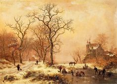 Winter landscape with figures playing on the ice - Frederik Marinus Kruseman - Canvas Artwork Fantasy Landscape, Winter Landscape, Hallway Art, Dutch Painters, Oil Painting Reproductions, Sports Art, Ice Skating, Online Art, Landscape Paintings