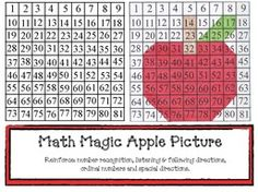 Math Magic Apple Picture.  Reinforces listening and following directions, numbers, and spatial directions. FREE printables.