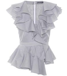Shop Ruffled poplin top presented at one of the world's leading online stores for luxury fashion. Diy Fashion, Fashion Dresses, Womens Fashion, Fashion Design, Fashion Trends, Luxury Fashion, Mode Bcbg, Frill Tops, Cotton Blouses