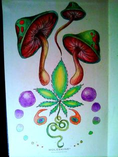 Gallery For > Trippy Marijuana Leaf Drawings (Cool Paintings Trippy) Hippie Drawing, Hippie Art, Mushroom Drawing, Mushroom Art, Drugs Art, Trippy Drawings, Leaf Drawing, Drawing Drawing, Marijuana Art