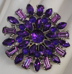 Two tone rhinestone cocktail button ring purple by victoriascharms, $15.00