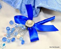 Jewel Blossom Boutonniere - Blue