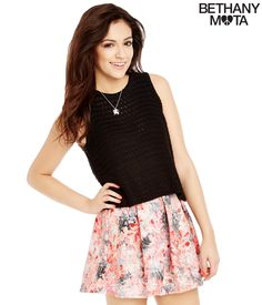 Floral Pleated Skater Skirt from Bethany Mota Collection Aeropostale