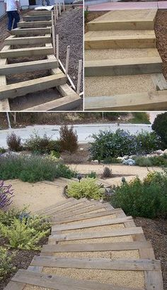 DIY Garden Steps & Stairs • Lots of ideas, tips & tutorials! Including, from '2 minute gardener', this great tutorial on making landscape timber stairs. #landscapebackyarddiy