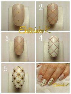 Fun tutorial to try Nail Manicure, Diy Nails, Cute Nails, Pretty Nails, Nail Polish, Nail Art Diy, Easy Nail Art, Nail Design Gold, Nailart