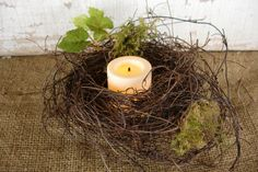 Woodsey Nest Candle Holder / Ring by AliceMaeDesigns on Etsy, $6.75