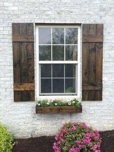 Shutters For Sale, Cedar Shutters, Farmhouse Shutters, Rustic Shutters, Wooden Shutters Exterior, Pallet Shutters, Outdoor Window Shutters, Country Shutters, Houses With Shutters