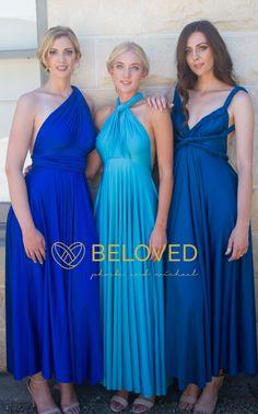 Royal blue and yellow convertible dress