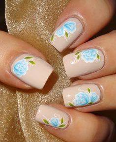 Wendy's Delights: Blue Bloom water decals from Sparkly Nails @sparklynails #waterdecals #blueflowers #floralmani #nailart