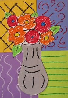 Do Art!: Matisse-Flower Vase Lesson. A must do lesson! Reminds me of Abby's kitchen drawing. Love it!