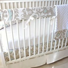 River Mist Bumperless Crib Rail baby bedding by babymilanbedding, $230.00
