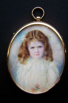 Lovely portrait miniature of an Edwardian young girl holding flowers | She doesn't look too happy about it, though!