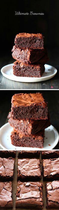 ULTIMATE Brownies - You need to make these! They're thick, fudgy, chewy, chocolaty, with that crinkly crust on top. Definitely one of the best brownie recipes. Yummy Treats, Sweet Treats, Yummy Food, Brownie Recipes, Chocolate Recipes, Chocolate Chips, Brownie Pan, Chocolate Sweets, Chocolate Heaven