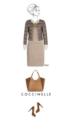 Office outfit: Beige - Brown by downtownblues on Polyvore #officewear  #Sleeveless  #bolero  #peeptoe  #shopper #Coccinelle