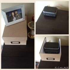 Hide that ugly router and modem with a picture box.